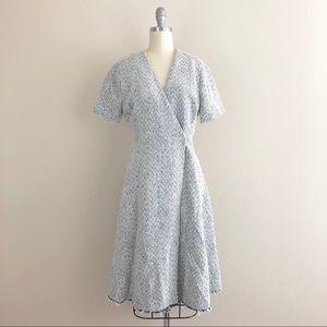 Modern Vintage Tweed Faux Wrap Dress